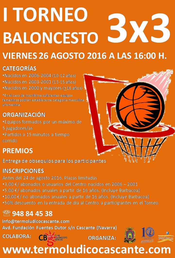 Cartel Torneo 3x3 Baloncesto